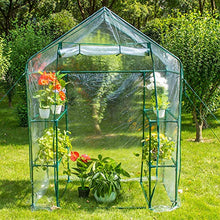 "Load image into Gallery viewer, Sundale Outdoor Gardening Portable 2 Tier 4 Shelf Steeple Greenhouse with PVC Cover, Hot Green House, 56.5""(L) x 29""(W) x 75.5""(H)"
