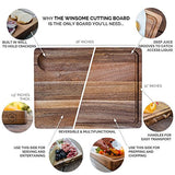 Large Reversible Multipurpose Thick Acacia Wood Cutting Board: 16x12x1.5 Juice Groove & Cracker Holder by Sonder LA (Gift Box Included)