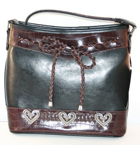Fashion | Handbag Black and Brown Purse with Braid Trim Bow
