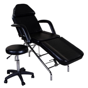 Facial Bed Spa Table Tattoo Chair Bed with Towel Holder & Stool