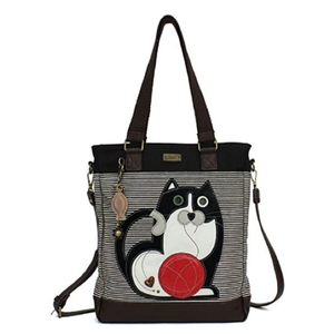 Striped Work Tote with Cat Theme