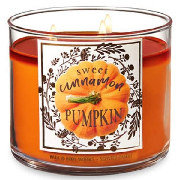 Bath and Body Works Thankful Candle Sweet Cinnamon Pumpkin 3 Wick