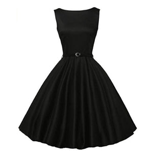 Fashion | Best Selling Boatneck Sleeveless Vintage Tea Dress with Belt