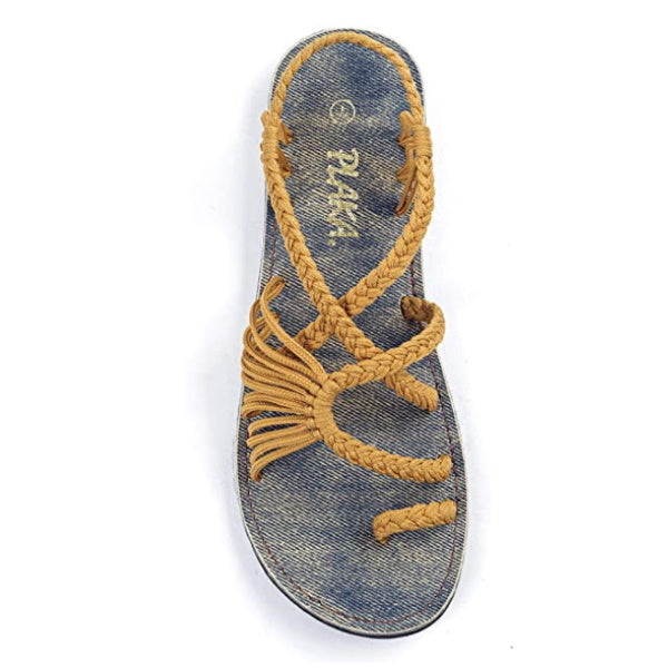 Gold Flat Sandals for Women Palm Leaf