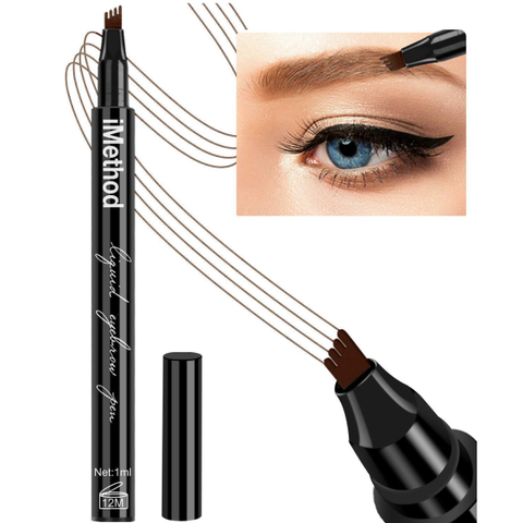 Eyebrow Pencil with a Micro-Fork Tip Applicator Creates Natural Looking Brows