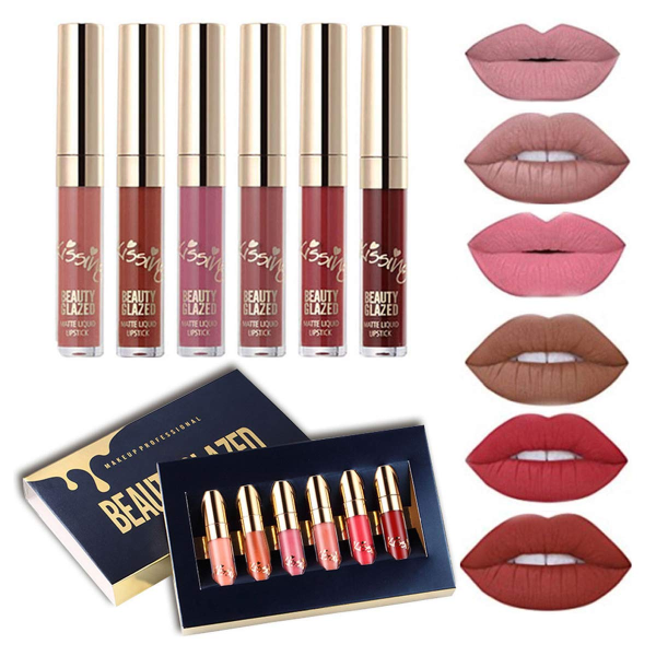 6 PCS Matte Liquid Lipstick set Waterproof Long Lasting Liquid Lip Gloss