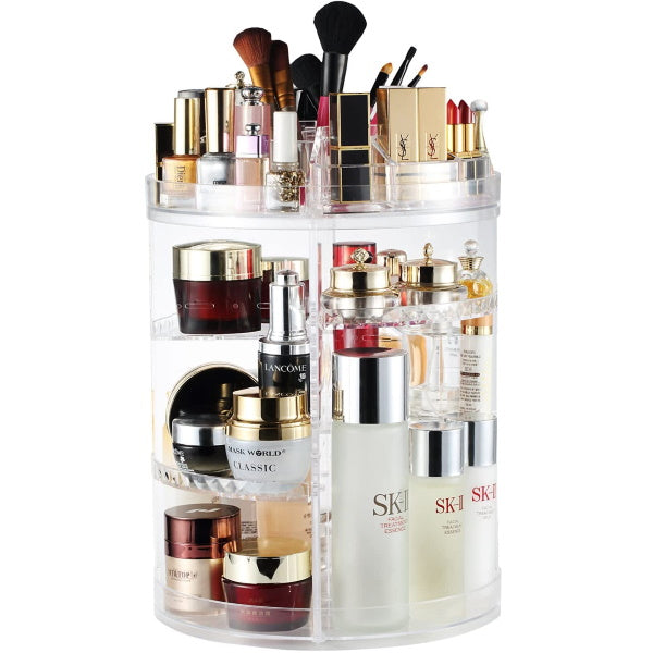 Makeup Organizer Rotating Adjustable Cosmetic Storage Display Case