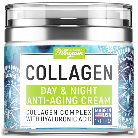 MARYANN Organics Collagen Cream - Anti Aging Face Moisturizer  Day & Night  Made in USA - Natural Formula with Hyaluronic Acid & Vitamin C.  Cleanse, Moisturize, and Protect Your Skin