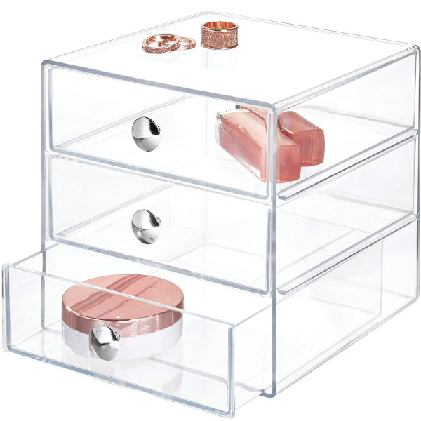 3-DRAWER VANITY ORGANIZER: Three pull-out drawers provide space to store makeup, cosmetics, brushes, applicators, jewelry, accessories, and more on bathroom countertops and in cabinets