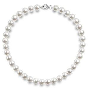 Silver Round White Simulated Shell Pearl Necklace Strand Pearl Choker Necklace