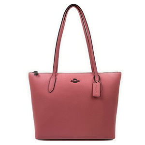 Womens Crossgrain Leather Zip Top Tote
