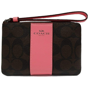 Coach Handbags and Purses | Brown & Pink Coach Signature Corner Zip Wristlet