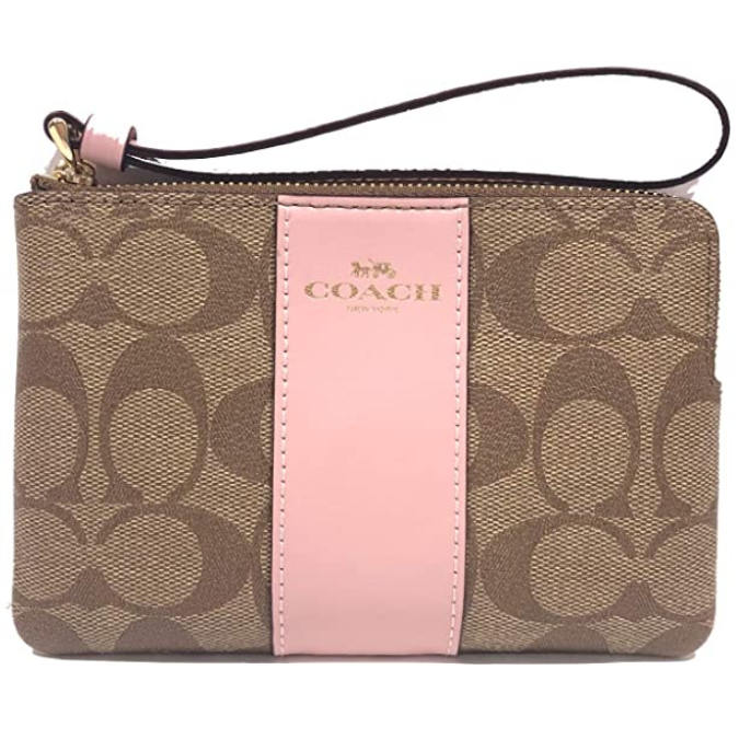Crossgrain Leather Corner Zip Wristlet (IM/Khaki Blossom)