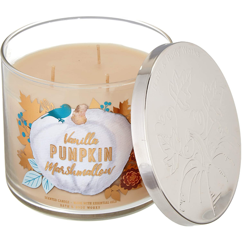 Bath and Body Works 3 Wick Scented Candle Vanilla Pumpkin Marshmallow