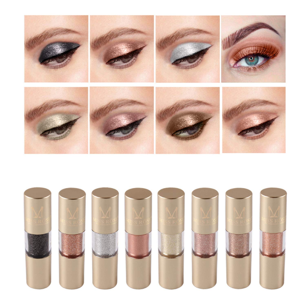 Metallic Shimmer Liquid Eyeliner Set, 8 Colors Glitter Metal Waterproof Liquid Eyeshadow