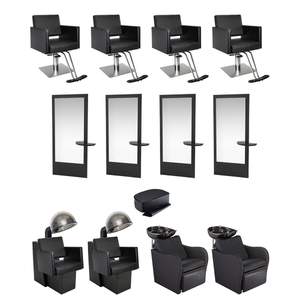 Salon Equipment | 15-Piece Gold Salon and Spa Set 4 Operator Stations