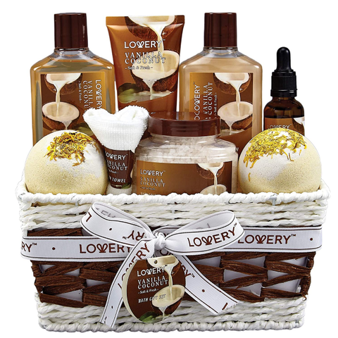 Bath and Body Works Gift Basket Vanilla Coconut Home Spa
