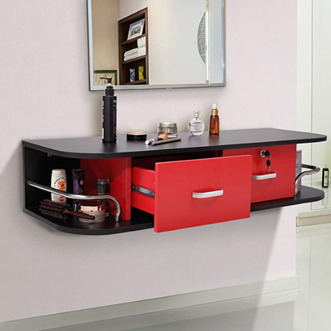 Wall Mount Styling Station Beauty Salon Spa Locking Cabinet, Black and Red