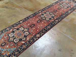 Fine Persian Heriz Traditional Design 100-Percent Wool Handmade Runner-Rug