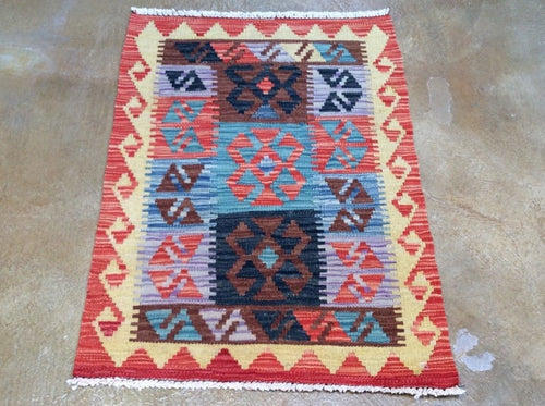 Southwestern Afghan Mimana Kilim Handmade Lovely Handwoven Real Wool Amazing Unique Rug