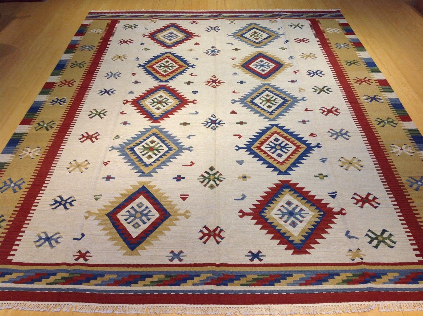 Stunning Handwoven Pretty Flatweave Reversible Geometric Design Kilim Dhurrie Amazing Unique Rug