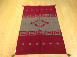 Beautiful Interior-Decorator Pretty Handwoven Dhurrie Southwest Design Reversible Kilim Real Wool Rug