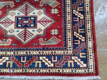 Load image into Gallery viewer, Fine Kazak Runner-Rug Geometric Hand-Knotted Hand-made 100-Percent Wool
