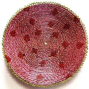 15inches handwoven southwestern design basket pinkish red confetti 129