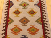 Load image into Gallery viewer, Indo Durrie Tribal Design Handmade Hand-Woven 100-Percent Wool Runner-Rug