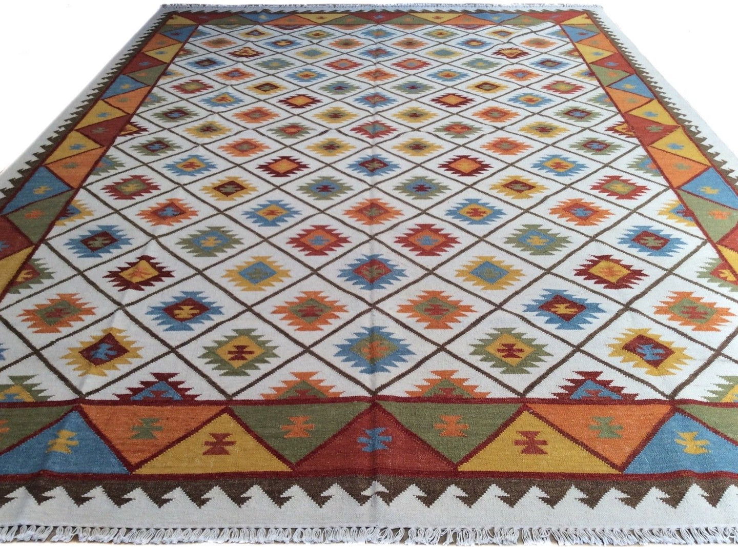 Fine Indian Durrie Kilim Artisan Handwoven Reversible Real Wool Amazing Unique Rug
