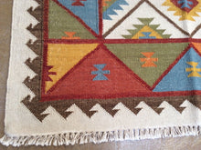 Load image into Gallery viewer, Fine Indian Durrie Kilim Artisan Handwoven Reversible Real Wool Amazing Unique Rug