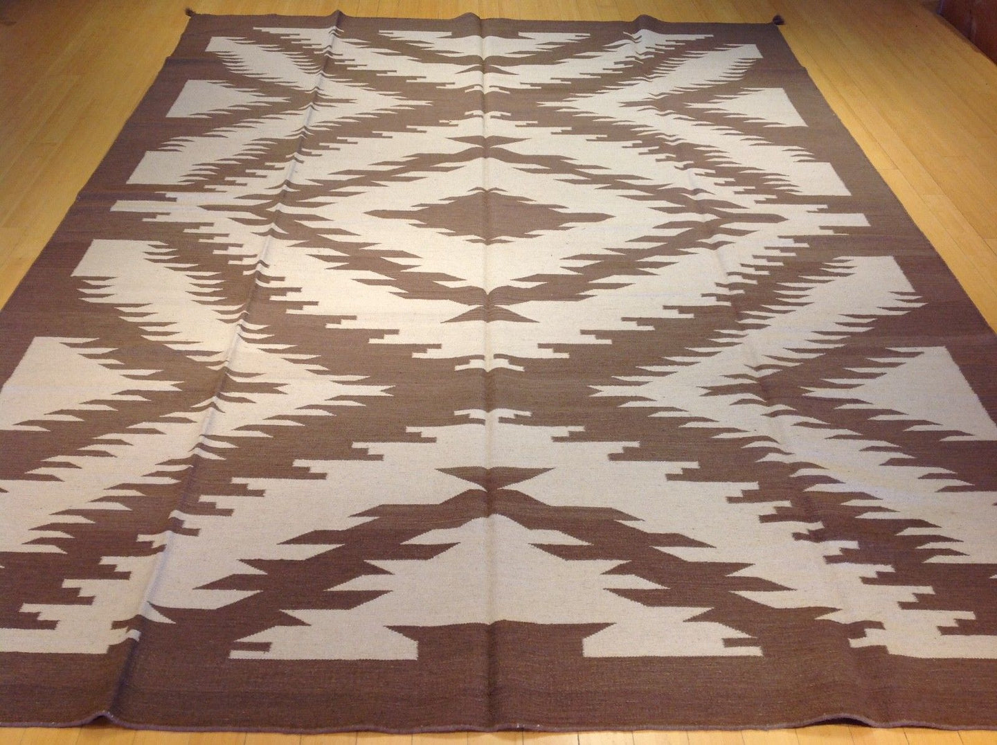 Stunning Handwoven Reversible Dhurrie Southwestern Design Splendid Real Wool Amazing Unique Rug