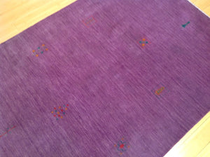Beautiful Purple Handloomed Modern Gabbeh Design Real Wool Classy Handknotted Unique Rug