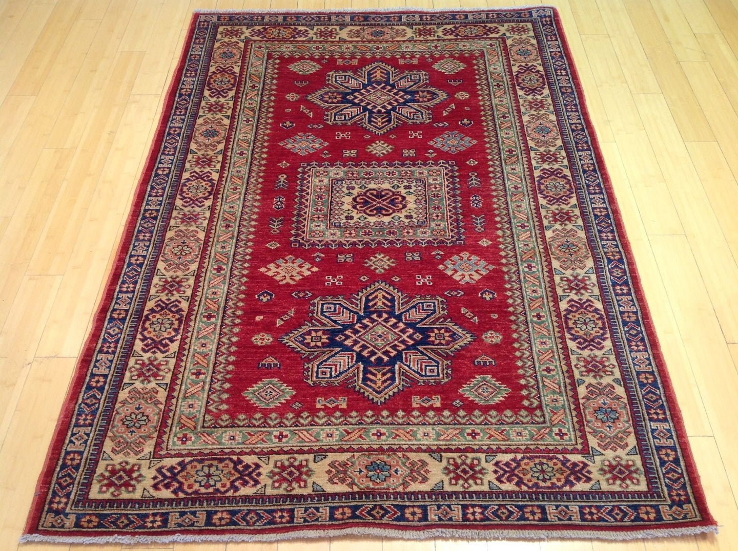 Fine Oriental Super Kazak Tribal Design Splendid Handknotted Real Wool Unique Rug