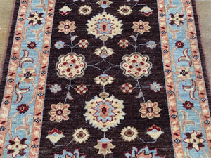 Hand-Knotted Peshawar Chobi Tribal Design 100-Percent Wool Runner-Rug