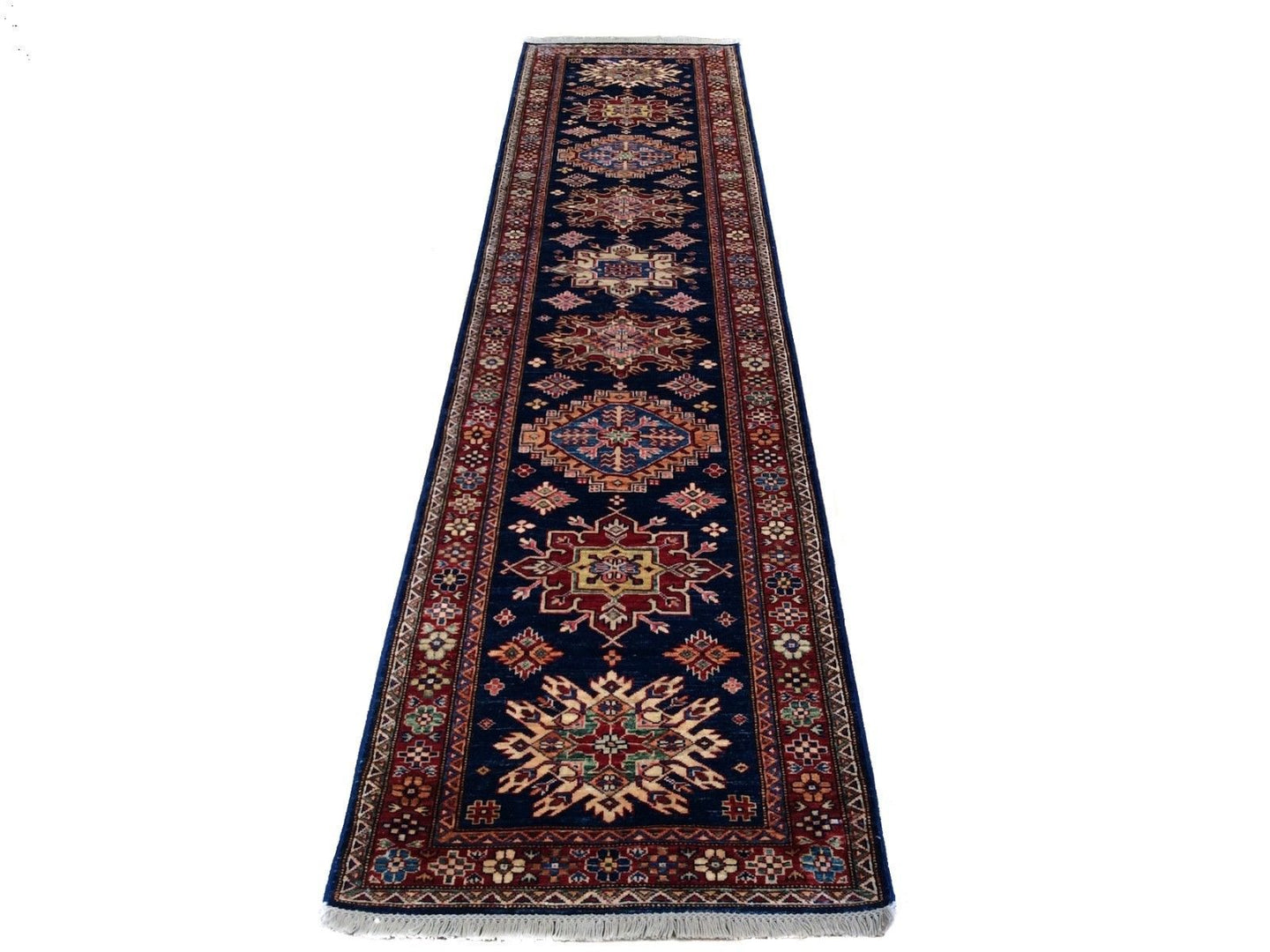 Kazak Runner-Rug Geometric Design Hand-Knotted Hand-Woven 100-Percent Wool
