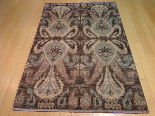 Beautiful Fine Modern Chobi Ikat Design Splendid Handknotted Real Wool Handmade Rug
