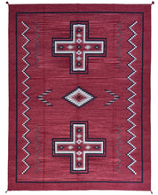 Load image into Gallery viewer, Hand-Woven Southwestern Design Red Color Flatweave Handmade wool Rug (Size 9.0 X 12.0) Brrsf-2163