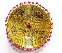 Load image into Gallery viewer, 16inches handwoven southwestern design handmade golden basket best quality 159