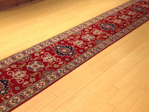 Oriental Kazak Tribal Design Handmade Hand-Knotted 100-Percent Wool Runner-Rug