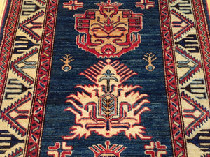 Oriental Super Kazak Tribal Runner-Rug 100-Percent Wool Hand-Knotted Handmade