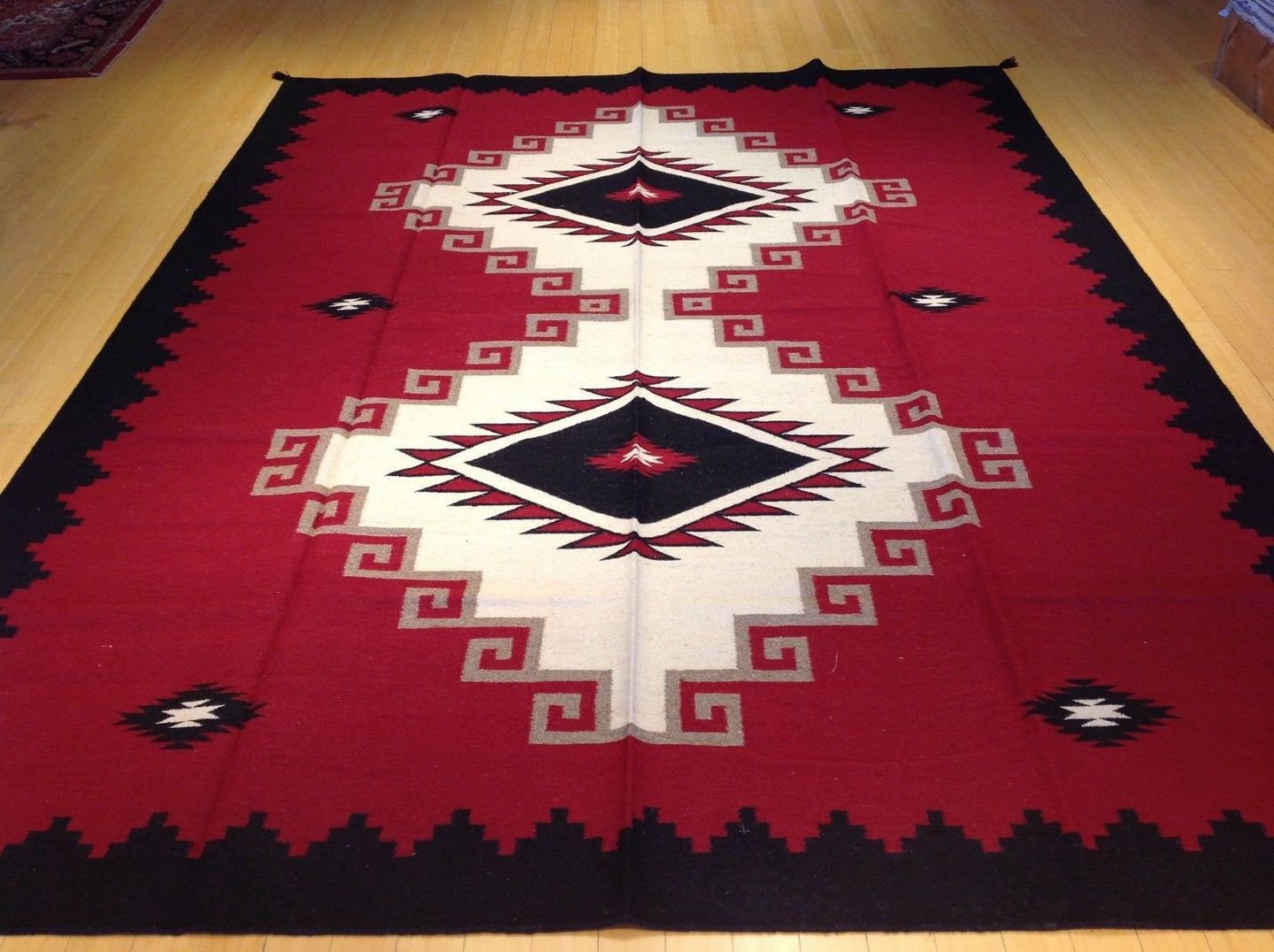 Stunning Handwoven Southwestern Design Reversible Lovely Flatweave Real Wool Amazing Unique Rug