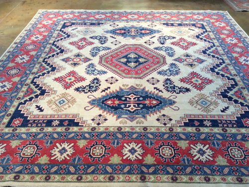 Beautiful Interior-Decorator Square Gorgeous Handknotted Kazak Caucasian Design Real Wool Unique Rug