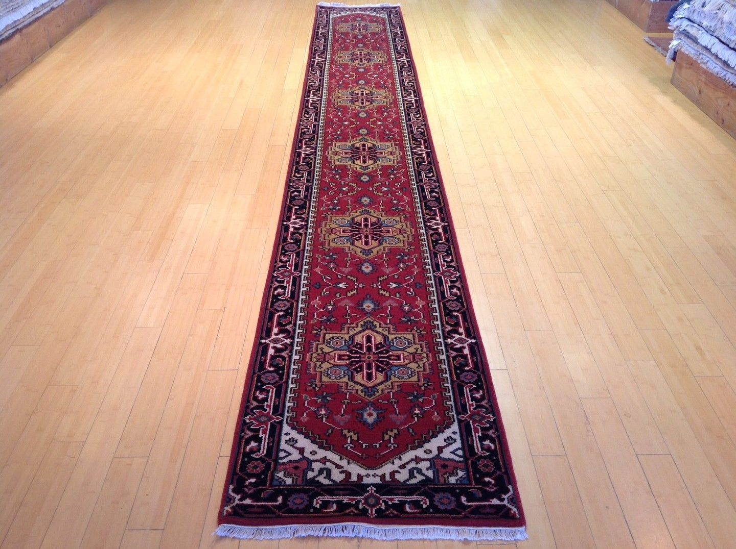 Persian Traditional Heriz Design Hand-Knotted 100-Percent Wool Runner-Rug