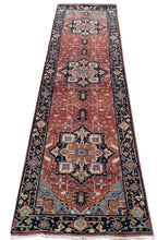 Load image into Gallery viewer, Fine Persian Heriz Traditional Design 100-Percent Wool Handmade Runner-Rug