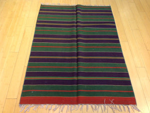 Beautiful Interior-Decorator Striped Design Artisan Handwoven Handmade Reversible Kilim Real Wool Rug
