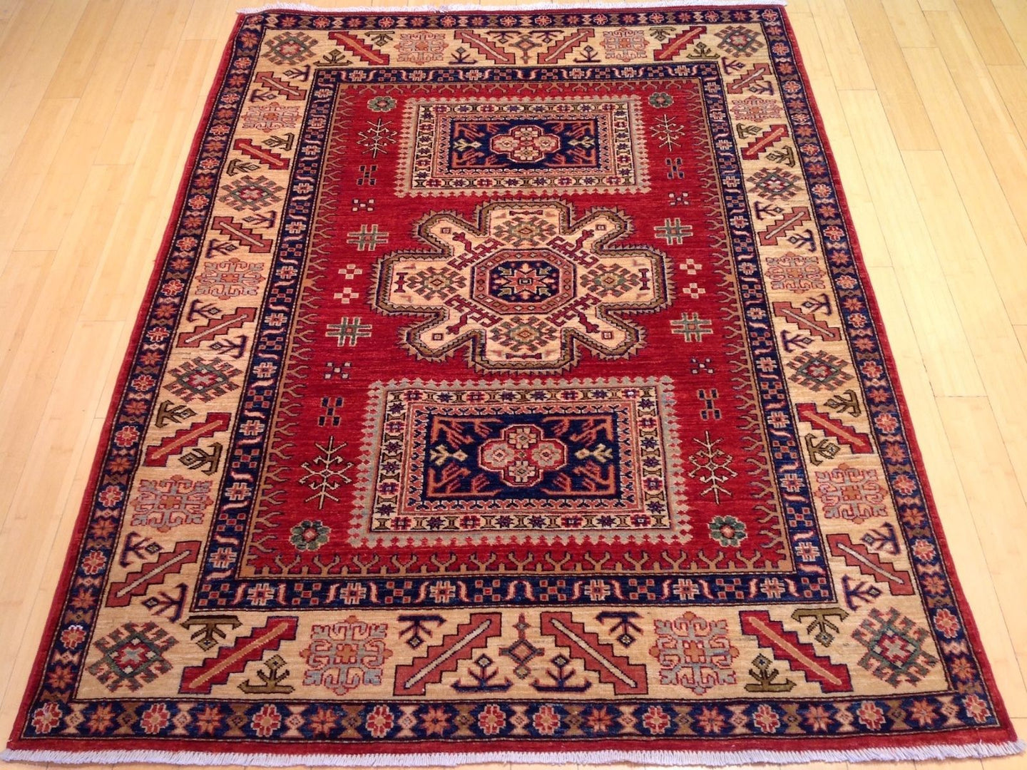 Beautiful Super Kazak Gorgeous Handknotted Handmade Oriental Design Real Wool Unique Rug