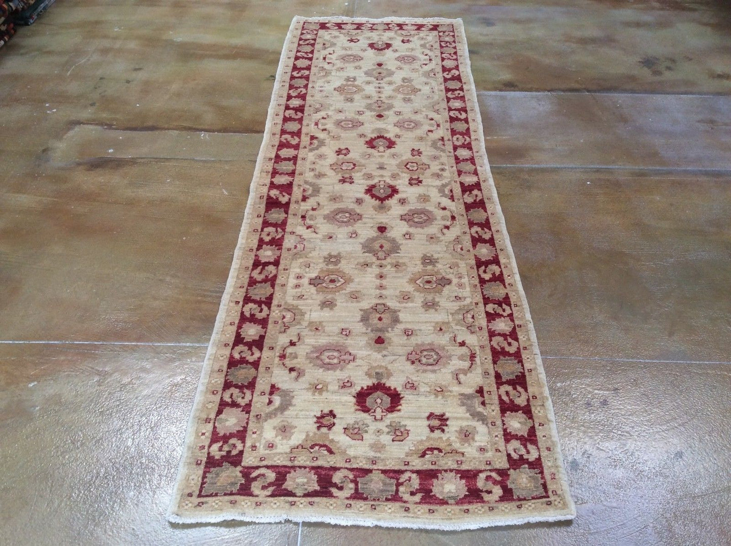 Oushak Design Chobi Runner-Rug Traditional Hand-Knotted 100-Percent Wool