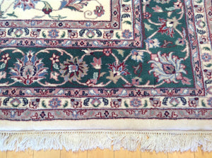 Beautiful Interior-Decorator Pretty Handknotted Handmade Traditional Floral Design Classy Real Wool Rug