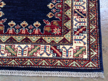 Load image into Gallery viewer, Fine Kazak Geometric Design Hand-Knotted Hand-Woven 100-Percent Wool